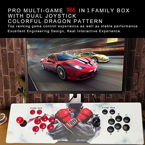 Ultra Slim Metal Double Joystick and Buttons Arcade Game Console 986 Classic Games Machine Pandora's Box 5S by STLY