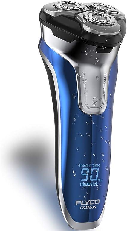 Afeitadora eléctrica para hombres, FLYCO Wet & Dry, afeitadora eléctrica giratoria para barba de hombre con