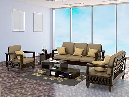 Mamta Decoration Solid Sheesham Wood Sofa Sets For Living Room 3 2 1 Walnut Dark Brown Amazon In Home Kitchen
