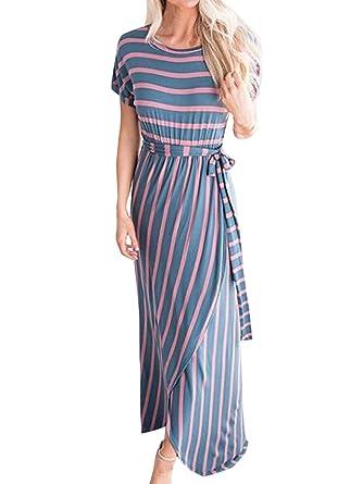 Sommer Damen Maxikleid Casual Rundhals Kurzarm Kleid mit Bandagen Strandkleider  Blusenkleider Mode Gestreift Kleider mit Schlitz 7e85d59f64