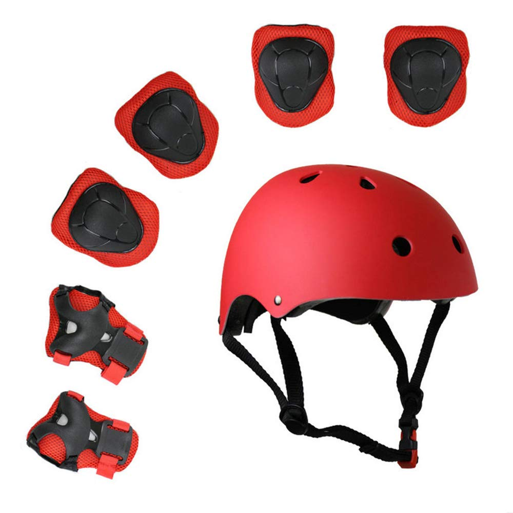 Lucky-M Kids 7 Pieces Outdoor Sports Protective Gear Set Boys Girls Cycling Helmet Safety Pads Set [Knee&Elbow Pads and Wrist Guards] for Roller Scooter Skateboard Bicycle(3-8Years Old)
