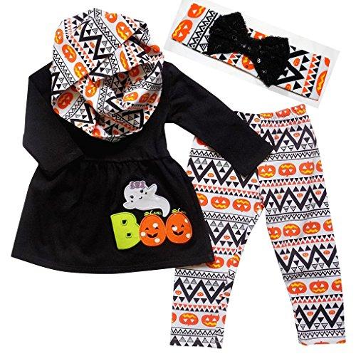 Boutique Clothing Girls Halloween Pumpkin & Ghost BOO 4 Piece Aztec Outfit Set (Girls Halloween Shirts)