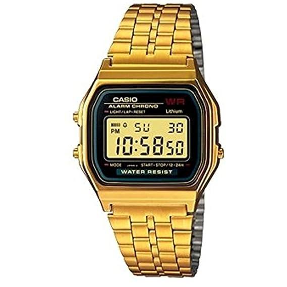 3cbe8b67036 Relógio Unissex Digital Casio A159WGEA-1DF - Preto Dourado  Amazon ...