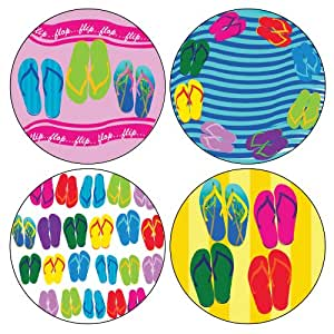 """CoasterStone AS9155 Absorbent Coasters, 4-1/4-Inch, """"Flip Flop Collection"""", Set of 4"""