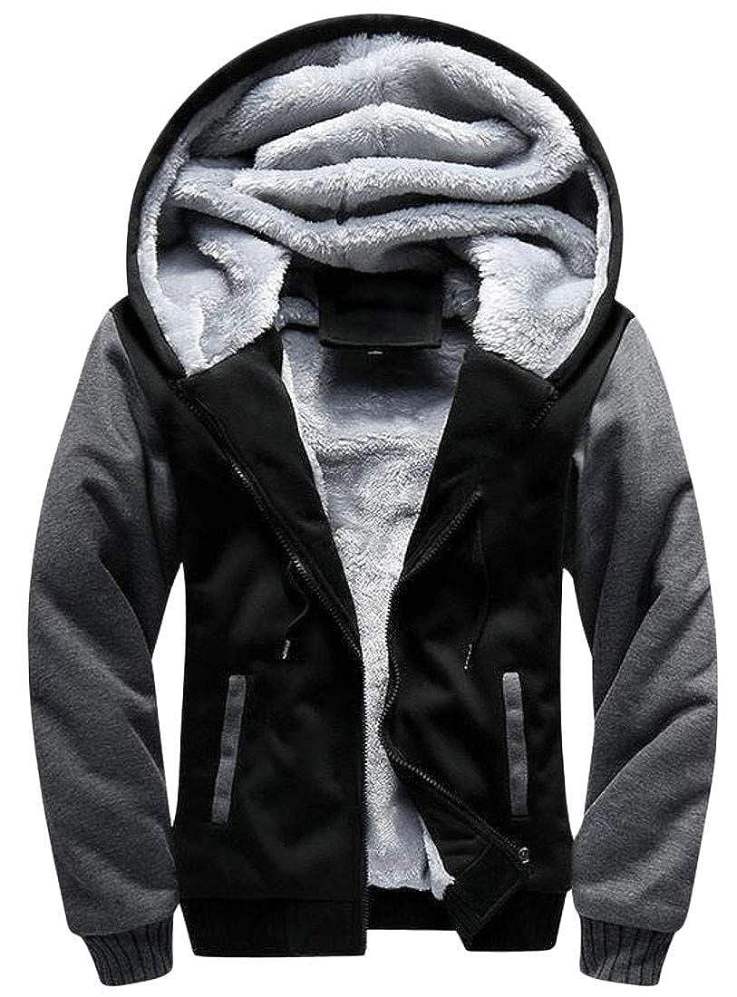 Hajotrawa Men Plus Size Hooded Color Block Winter Coat Fleece Jacket Sweatshirt