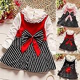 Jshuang (6M-3Y) Kids Baby Girls Clothes Long Sleeve Bow Striped Princess Splicing Mesh Dress T-Shirt Skirt Set