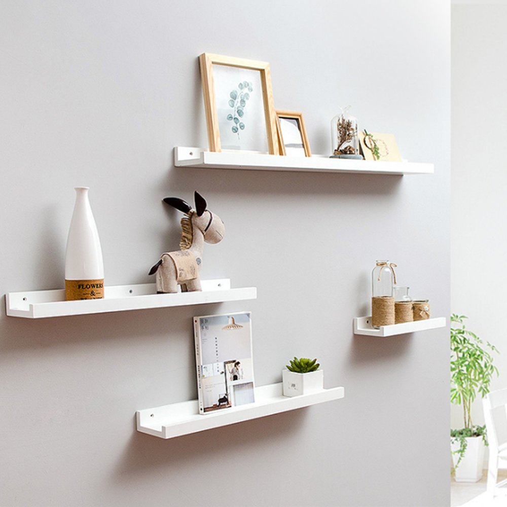Haoren Wood Wall Mounted Floating Ledge Shelf Shelves for Picture Books Decorations New (White, Middle) by Haoren (Image #1)