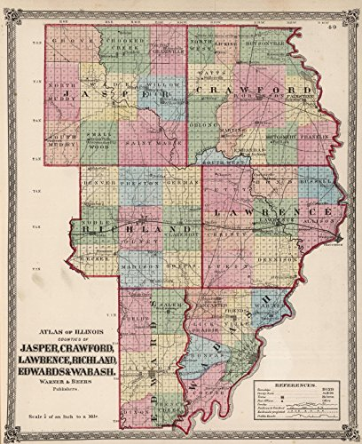 National Atlas   1872 Atlas Of Illinois  Counties Of Jasper  Crawford  Lawrence  Richland  Edward   Wabash    Historic Antique Vintage Map Reprint