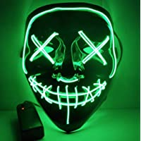IMPORTUDO MX Mascara con LUZ LED LA Purga Halloween The Purge Colores Calidad (Verde)