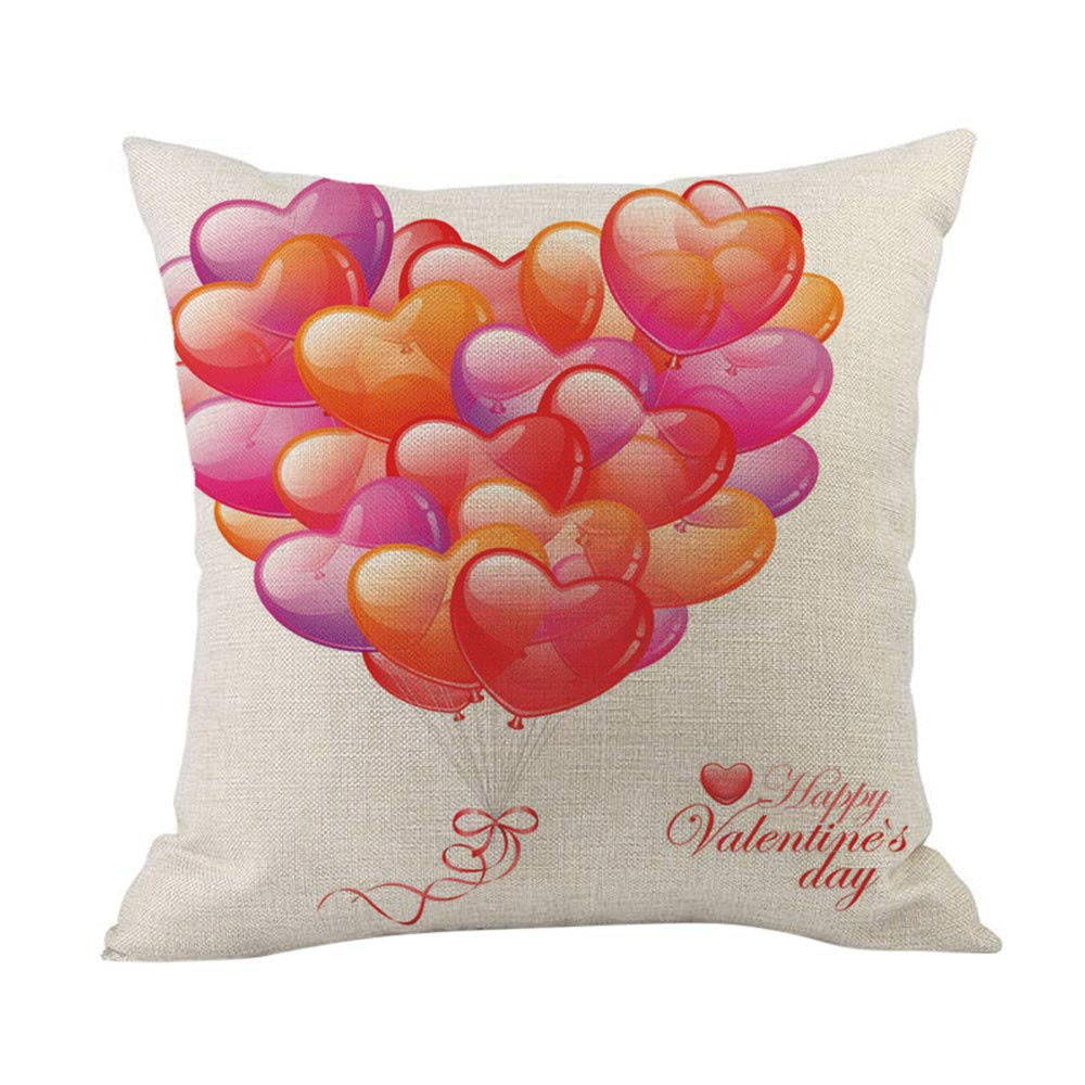 Cyhulu Kawaii 18x18 Inch Quote Throw Creative Cartoon Heart Print Square Pillow Case Cushion Cover Lover Gifts for Happy Valentine's Day Home Bed Sofa Living Room DIY Decoration (C, One size)