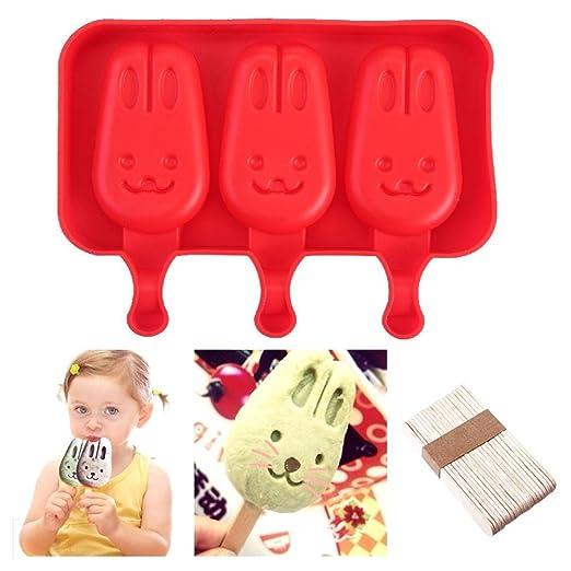 Compra KOBWA moldes de polo de hielo, diseño de conejito + palos ...