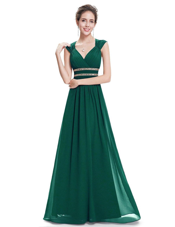 Engerla Women's Chiffon V-Neck Sheer Straps Empire with Crystals Open Back Ruffled Bridesmaid Dress