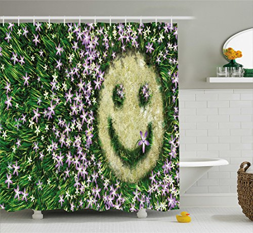 Ambesonne Garden Decor Shower Curtain, Smiley Emoticon on the Grass with Spring Flowers Happy Humorous Meadow, Fabric Bathroom Decor Set with Hooks, 70 Inches, Lavander Green