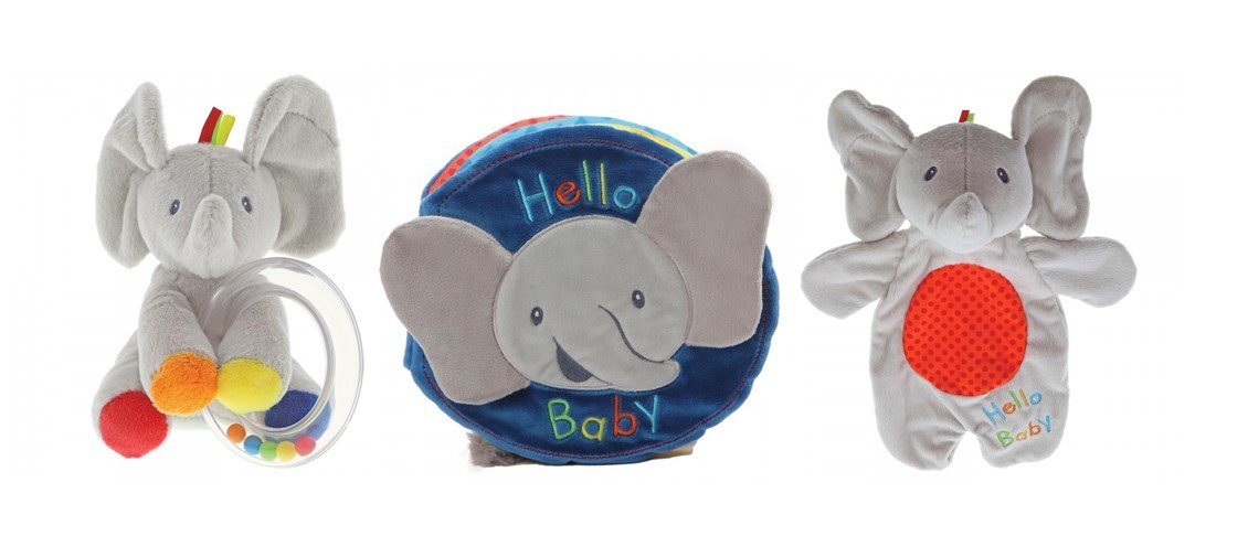 Baby GUND Flappy The Elephant Soft Book, Comfort Toy and Rattle