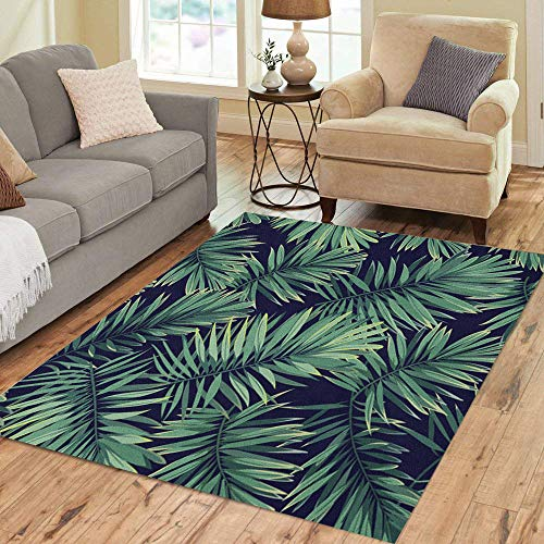 Pinbeam Area Rug Dark Tropical Pattern Exotic Plants Green Phoenix Palm Home Decor Floor Rug 5' x 7' Carpet