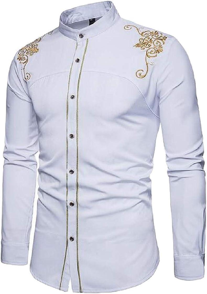 Macondoo Mens Slim Fit Button Down Stylish Mandarin Collar Long-Sleeve Graphic Shirts