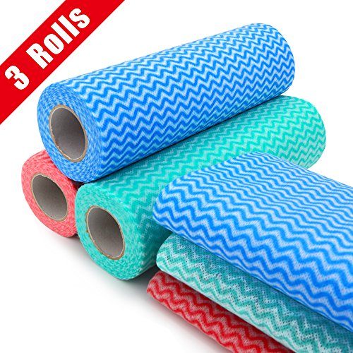 Kitchen Towel Rolls (Healon Reusable Cleaning Cloths Disposable Cleaning Towels Kitchen Towels Dish Cloths Heavy Duty Eco-friendly Non Woven Fabric Mutipurpose Handy Wipes 26 pcs/roll)