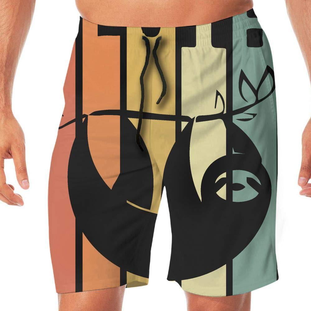 STDKNSK9 Mens Vintage Sloth 2 Boardshorts Beach Pants No Mesh Lining