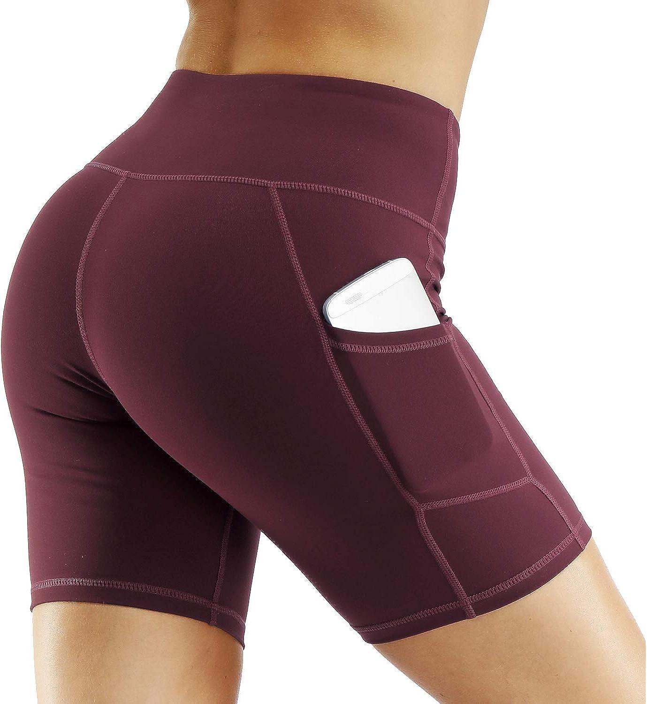 CQC Womens High Waist Yoga Shorts Compression Workout Running Bike Shorts Side Pockets