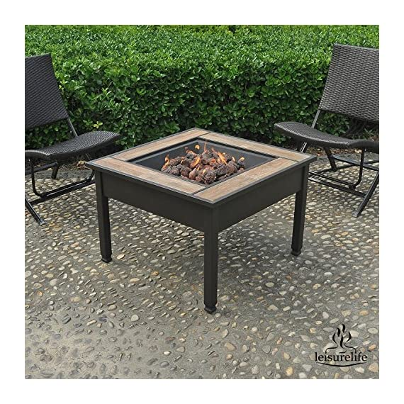 """Leisurelife 29"""" Square Ceramic Tile Top LP Gas Fire Pit Table - 45,000 BTU Output Dark brown metal frame with ceramic tiles surround Metal lid provides conversion to coffee table (and protection of the burner unit when not in use) - patio, outdoor-decor, fire-pits-outdoor-fireplaces - 61DDd0RxO5L. SS570  -"""