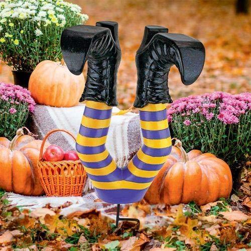 Design Toscano Crash Landing Wicked Witch Legs Halloween Garden Stake Statue, 16 Inch, Polyresin,