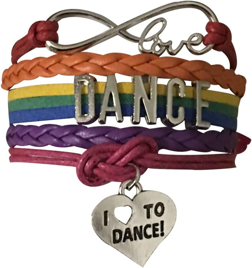 Rainbow Love Dance Charm Bracelet Dance Jewelry Gift for Dance Recitals /& Dancers Sportybella Dance Bracelet