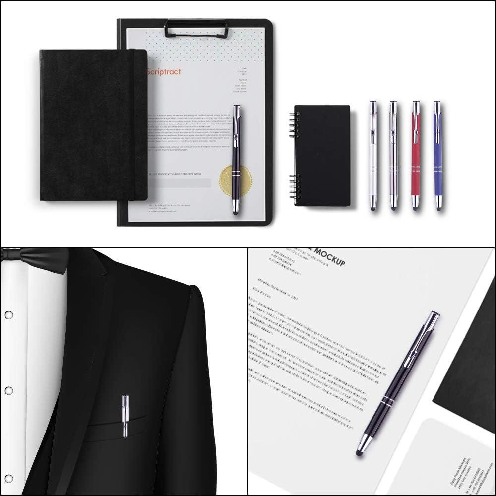 Scriptract Bolígrafos retráctiles de tinta negra de metal de 1,0 mm, lápices capacitivos universales 2 en 1 para dispositivos de pantalla táctil (10 ...