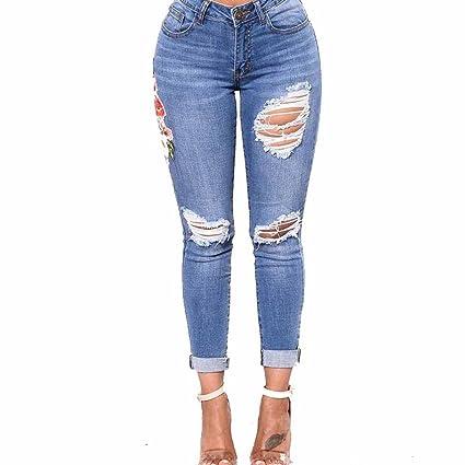 4806350f560 LuckyGirls Pantalones Mujer Vaqueros Cintura Alta Originals Bordado de  Floral Casual Pantalón Moda Skinny Legging Elasticos