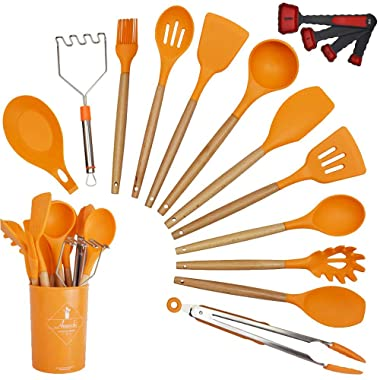Annvchi 14 Pieces Silicone Cooking Utensils Kitchen Utensil Set with Holder, Acacia Wooden Cooking Tool Turner Tongs Spatula Spoon for Nonstick Cookware - Best Kitchen Tools Gadgets (Orange) …