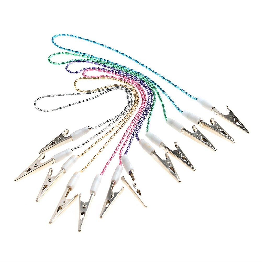 Tinksky Pinzette ferma tovaglioli, con catenella flessibile, colore casuale, confezione da 6