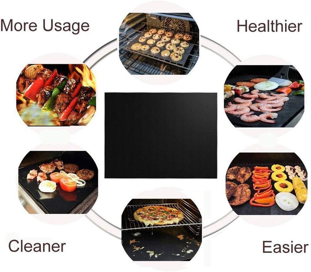 MRZHW 33x40cm × 0.2mm Tapis de Gril Tapis de Barbecue de qualité supérieure réutilisable antiadhésif Tapis de Gril durables et résistants à la Chaleur pour barbecue-10pcs Noir Noir