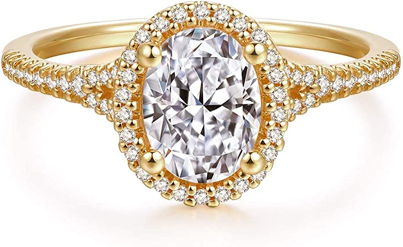 4.0Ct Solitaire Oval-Cut Diamond Engagement Ring In 14K Yellow Gold Finish