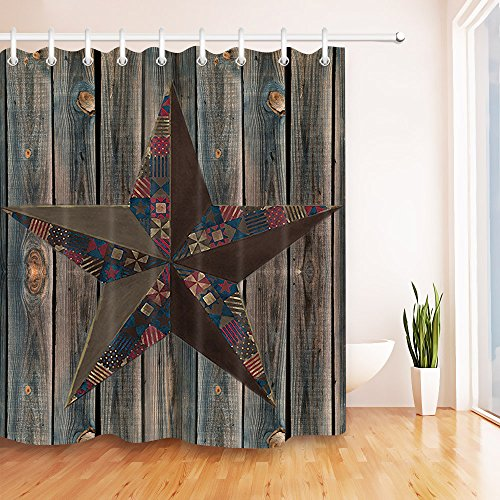 LB Vintage Lone Star on Barn Wood Plank Stall Shower Curtain by, Primitive Rustic West Texas Country Theme Bathroom Decor, 70x70 Shower Window Curtain Waterproof