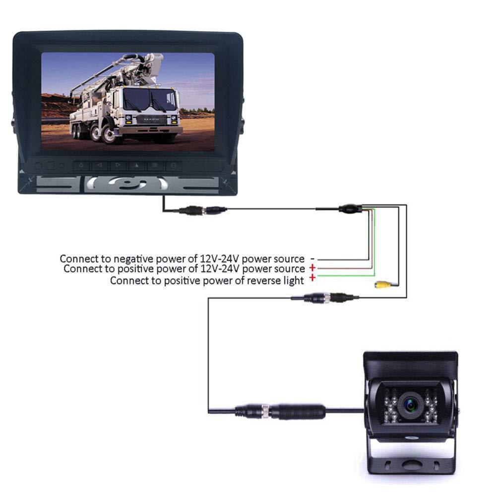 18LED per visione notturna retromarcia telecamera posteriore con 10m cavo per camper//rimorchio//camion veicolo sistema di parcheggio telecamera da 17,8cm HD LCD monitor a colori con parasole staffa