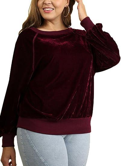 Women's Plus Size Velvet Long Sleeve Crew neck Pullover Sweatshirt