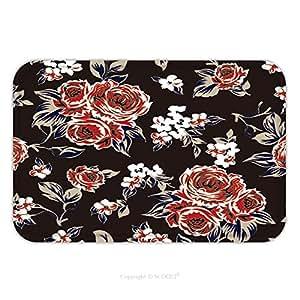 Franela de microfibra antideslizante suela de goma suave absorbente Felpudo alfombra alfombra alfombra Floral patrón 566570827para interior/exterior/cuarto de baño/cocina/Estaciones de trabajo