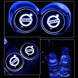 7 color led car lights - Alichee LED Car Logo Cup Holder Pad 7 Colors Changing USB Charging Mat LED Cup Mat Car Atmosphere Lamp Decoration Lights 2PCS for Volvo Accessories