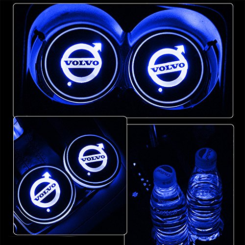 Alichee LED Car Logo Cup Holder Pad 7 Colors Changing USB Charging Mat LED Cup Mat Car Atmosphere Lamp Decoration Lights 2PCS for Volvo Accessories