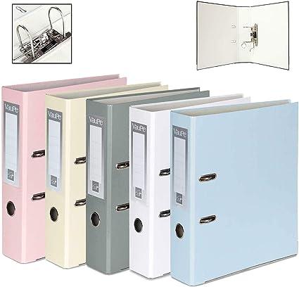 OfficeCenter - Archivadores de 5 unidades, tamaño A4, tamaño grande, 75 mm, color pastel: Amazon.es: Oficina y papelería