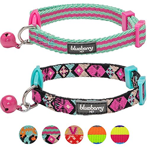 Blueberry Pet Pack of 2 Cat Collars, Geometric Design Adjustable Breakaway Cat Collar in Warm and Low-bright Colors with Bell, Neck 9'-13'