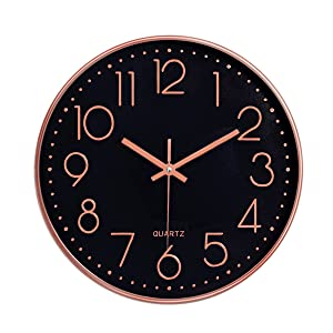 Foxtop Modern Decorative Wall Clock, Silent Non-Ticking Quality Quartz Battery Operated Round Easy to Read for Home Office School (Rose Gold Plastic Frame, Black Dial, Arabic Numbers)