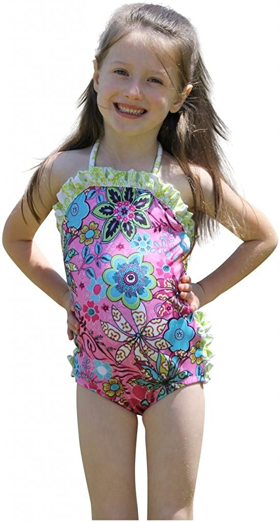 Bella Bare Wear Baby Girls Floral Ruffletini Snap-Change Swimsuit