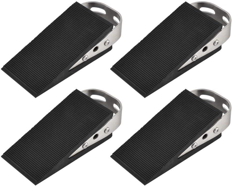 JQK Heavy Duty Door Stopper Rubber Wedge, 304 Stainless Steel Security Door Stops Works On All Floor Types, Brushed(4 Pack), DSB6-BN-P4