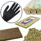 GRODAN A OK Rockwool Stonewool Hydroponic Grow Media Starter Cubes Plugs + THCity Gloves - 1.5'' x 1.5'' - 49 Piece