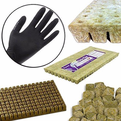 GRODAN A OK Rockwool Stonewool Hydroponic Grow Media Starter Cubes Plugs + THCity Gloves - 1