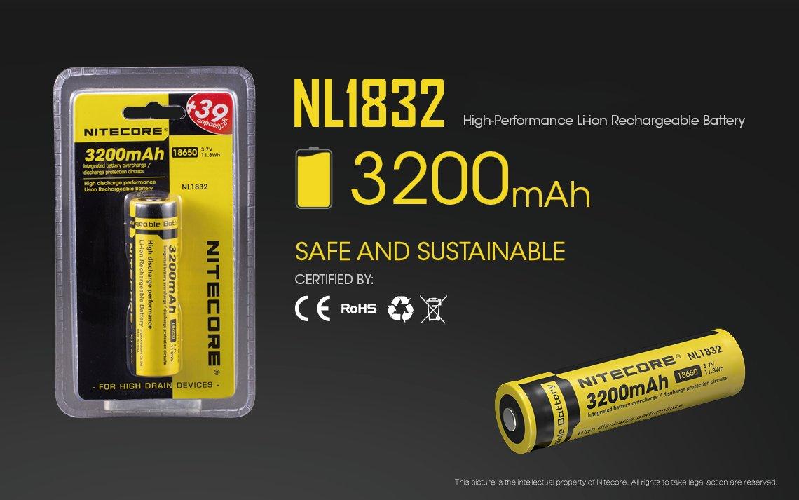 Nitecore nl1832 Zubeh/ör-Taschenlampe Unisex Erwachsene small schwarz//gelb