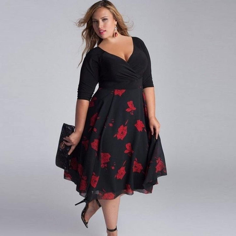 YunYoud Damen Übergröße erotisch Langes Kleid Lässige V-Ausschnitt ...