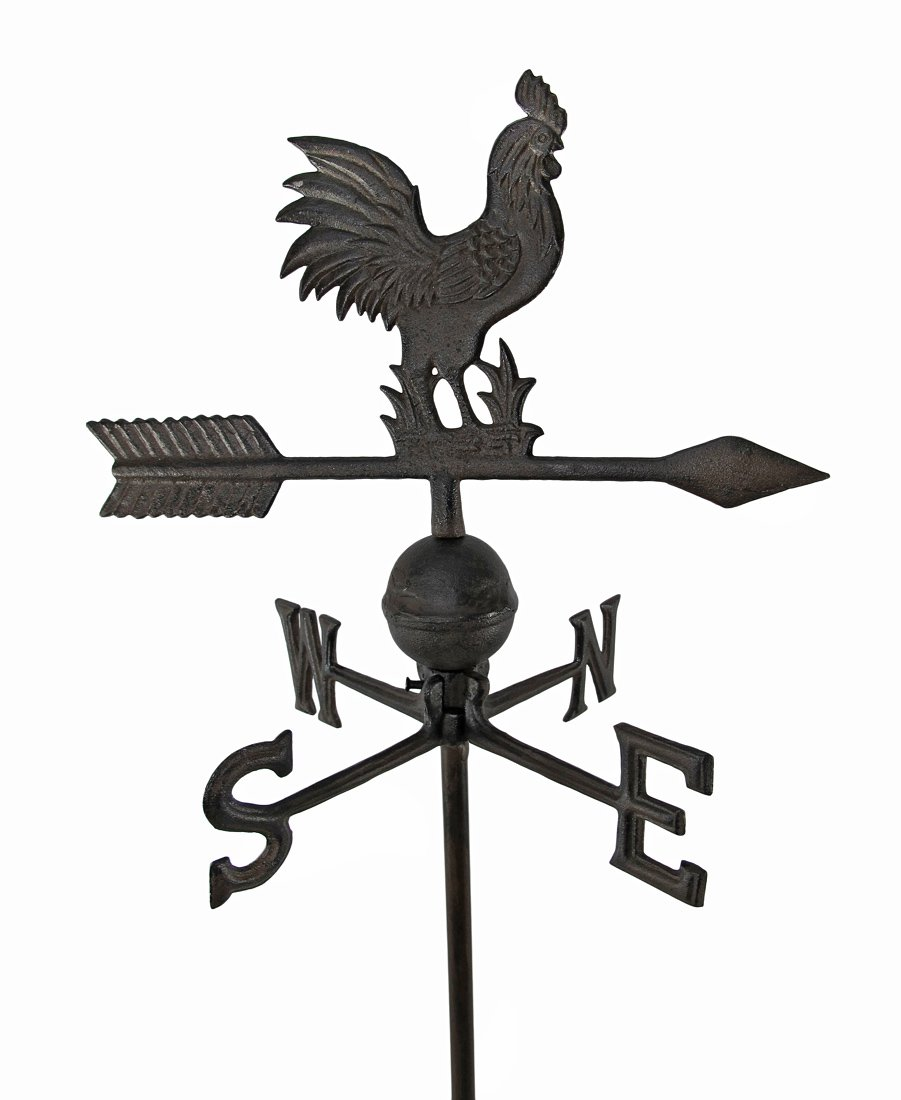 Things2Die4 Antiqued Finish Cast Iron Rooster Weathervane Garden Stake