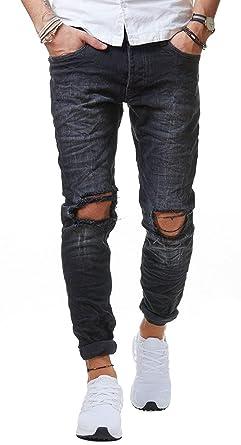 Redbridge Herren Jeans Hose Denim Slim Fit Destroyed Zerrissen Verwaschen  Schwarz M4097, Schwarz, 29W 756e57bba0