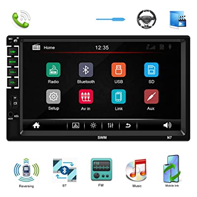 Double Din Car Stereo 7'' HD Car Multimedia Player in Dash Touch Screen Car Radio Bluetooth Autoradio Head Unit Support SWC FM AUX USB TF Mirror Link Reverse View: Car Electronics
